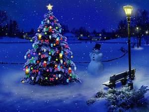 Snowy Christmas Night | bench, blue, christmas, christmas ...