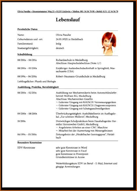 Beispiel Für Lebenslauf Bewerbung by 11 Lebenslauf Form Vorlagen123 Vorlagen123