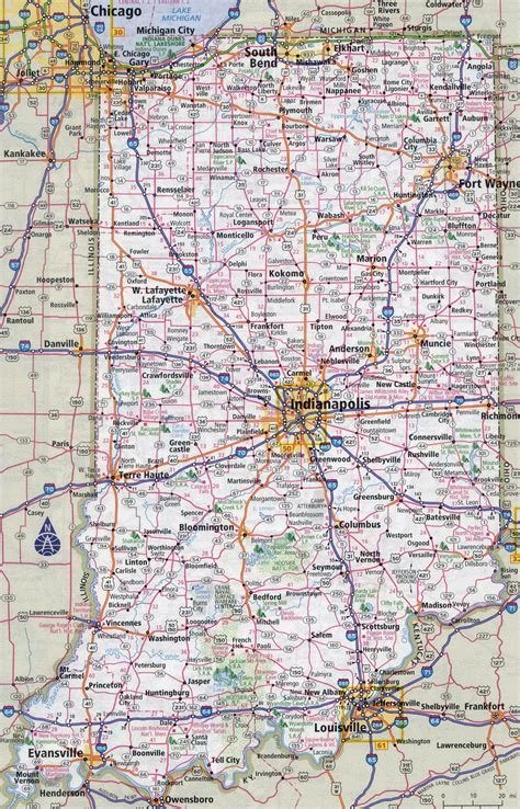 large detailed roads  highways map  indiana state