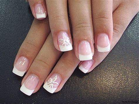 French manicure and painting on the nails photo 2018