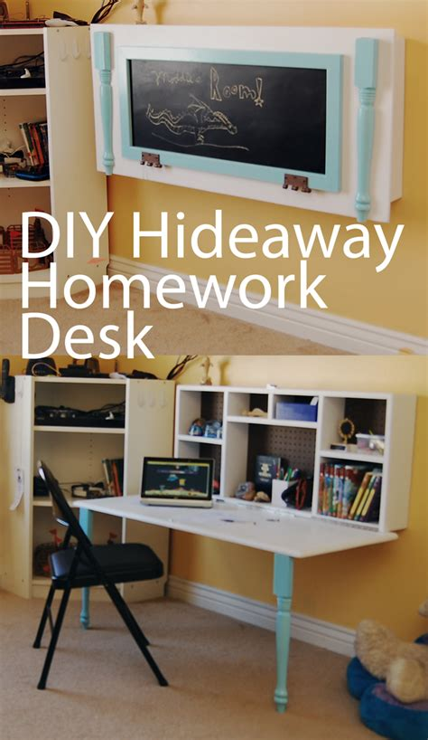 desks for small rooms diy hideaway homework wall desk boys rooms pinterest