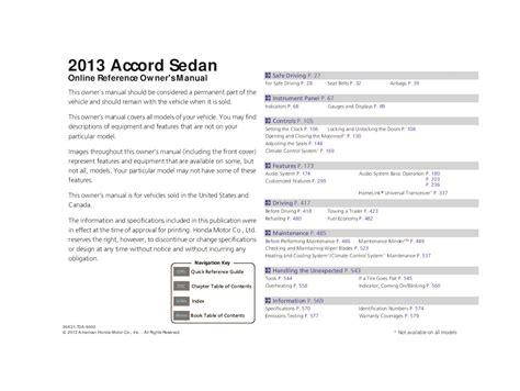 2013 Honda Accord Sedan Owners Manual