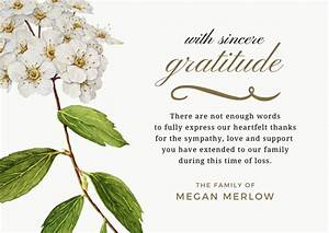 bereavement thank you notes lovely wording examples With thank you letter for sympathy gifts