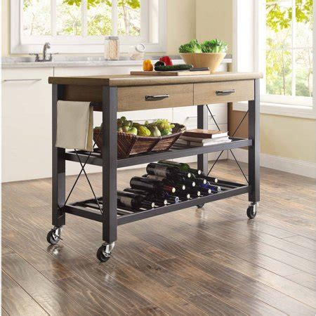 Whalen Santa Fe Kitchen Cart With Metal Shelves  Walmartcom