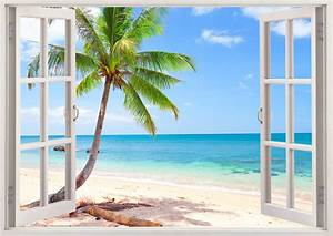 Palm tree beach wall decal 3d window tropical beach decal for Beautiful beach decals for walls