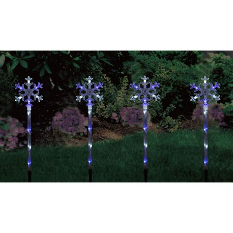 4 linked light up blue white snowflake outdoor garden path