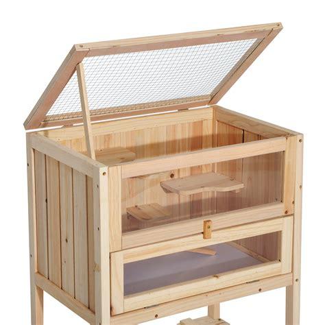 pawhut wooden hamster cage 60l 40w 80h cm
