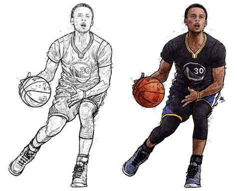 stephen curry   moving illustration nba