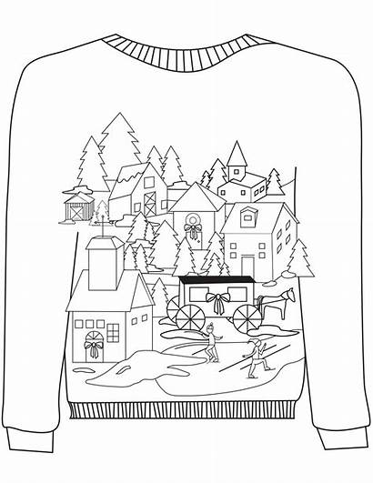 Sweater Ugly Coloring Christmas Village Pages Sweaters
