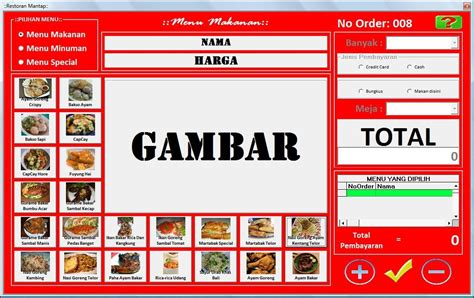 Contoh desain daftar menu untuk pada pengusaha kuliner. yudik nyem blog: Membuat Aplikasi Self Control Restoran ...