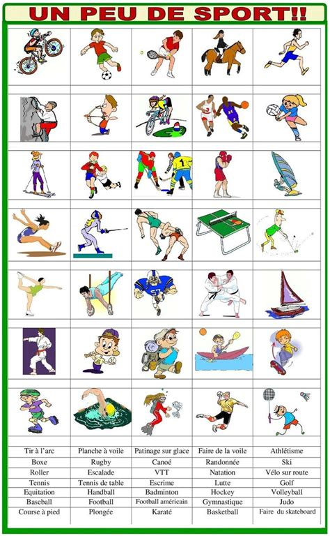 fle les sports images  pinterest french