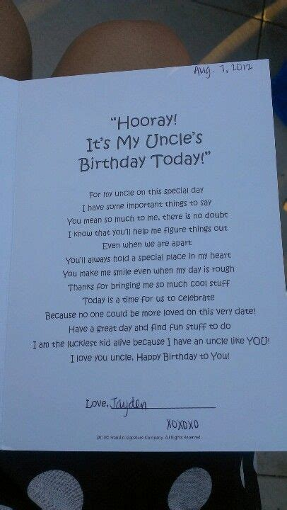 happy birthday uncle poem  baby nephew uncle