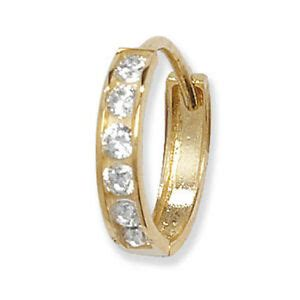 ct yellow gold gents single small huggie earring  clear cz ebay