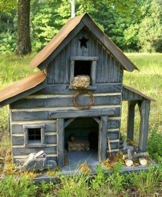 Handmade Folk Art Lighted Log Barn Birdhouse This