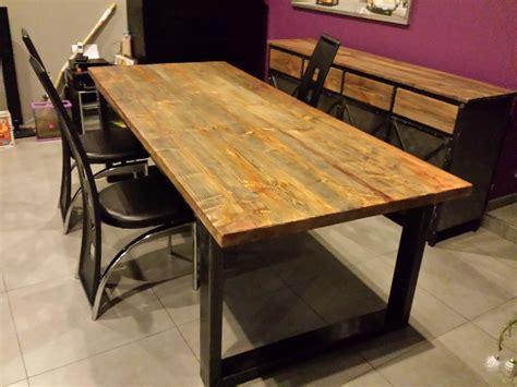fabriquer ilot central cuisine pas cher table de salle à manger style industriel acier et bois