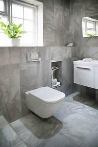 salle de bain sol gris mur blanc kirafes With salle de bain sol gris mur blanc