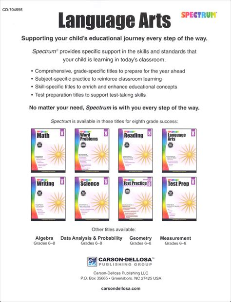 Spectrum Language Arts 2015 Grade 8 (058380) Details  Rainbow Resource Center, Inc