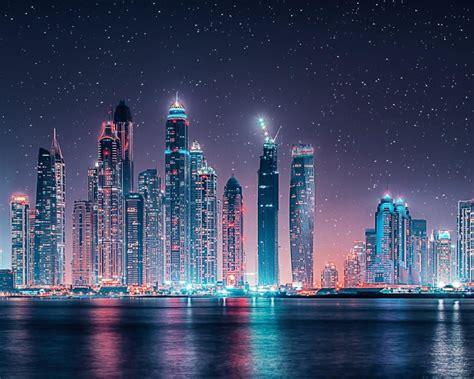 dubai skyline starry sky  night ultra hd wallpapers