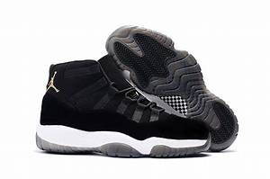 "2017 Air Jordan 11 ""Black Velvet"" Black White Gold For ..."