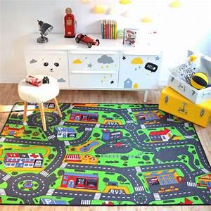 Tapis Pour Chambre Enfant : tapis circuit voiture ville 145x200 cm ~ Melissatoandfro.com Idées de Décoration