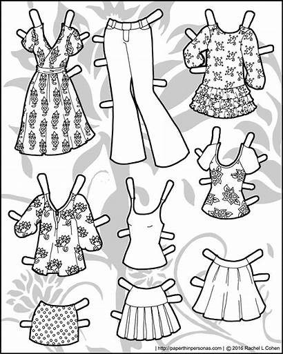 Paper Mannequin Doll Coloring Pages Summer Clothing