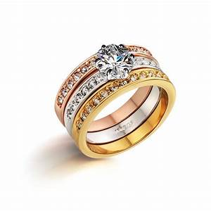 genuine italina 18k gold plated anillos 3 rings set With bague femme
