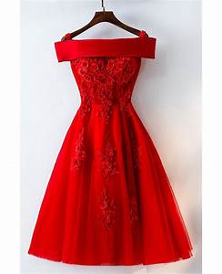 short off shoulder red lace bridal party dress myx18171 With red dress for wedding party