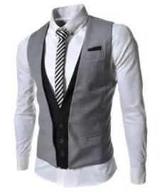 Casual Style V-Neck Belt Embellished Sleeveless Cotton Blend False Two Pieces Waistcoat For Men