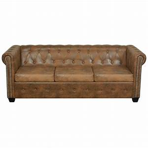 acheter vidaxl canape chesterfield 3 places cuir With canape chesterfield cuir solde