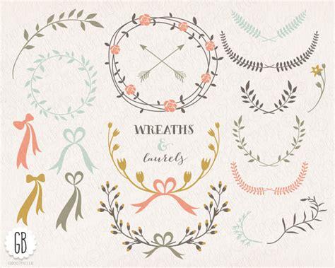 floral wreaths laurels ribbons clip art vector folk
