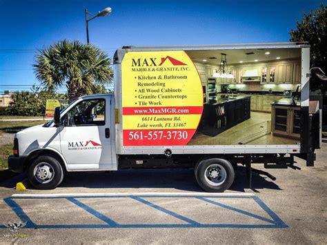 max marble and granite box truck vinyl wrap installation