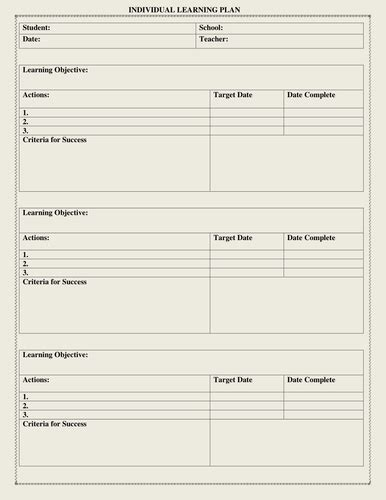 individual learning plan template  moedonnelly