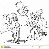 Winter Vacation Coloring Illustration Skiing Boy Snowman Royalty Friend Building Preview Dreamstime sketch template