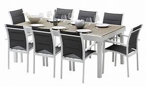 Table Jardin Composite : salon de jardin rsistant en aluminium et bois 8 fauteuils ~ Teatrodelosmanantiales.com Idées de Décoration