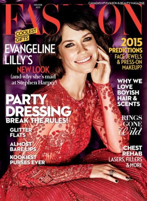 Evangeline Lilly - Fashion Magazine Winter 2015 Cover and ...