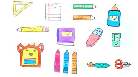 draw school supplies step  step easy drawing