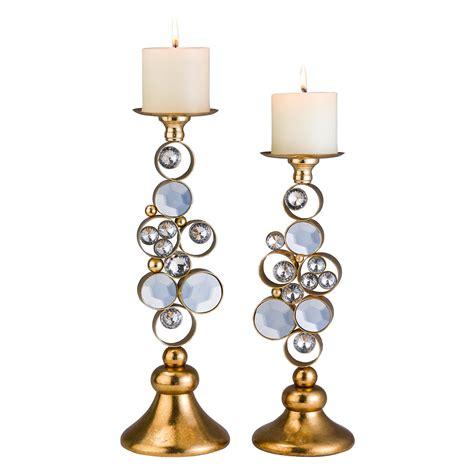 ore international   gold malha candle holder set