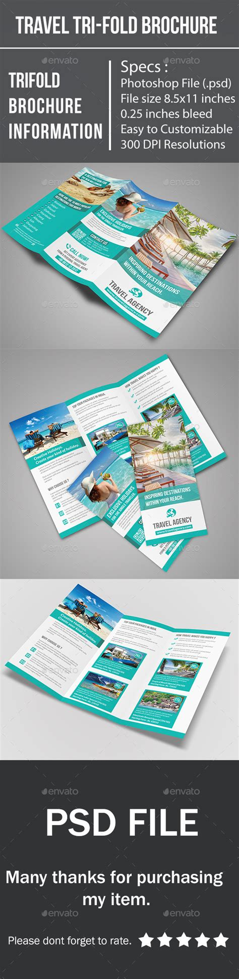 Travel Brochure Template 3 Fold by Travel Tri Fold Brochure By Buntichauhan123 Graphicriver