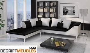 Canapé Blanc Et Noir : photos canap d 39 angle cuir blanc et noir ~ Teatrodelosmanantiales.com Idées de Décoration