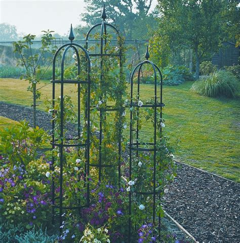 Pair Of Large 24m Agriframes Black Metal Garden Obelisks