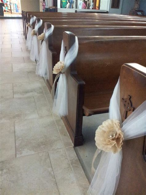 pew decoration tulle and paper flowers my creations pinterest scrunchies wedding and flower