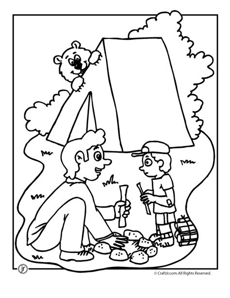 camp activities camping coloring pages 673 | bear camping coloring page