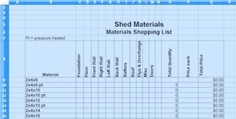 8x12 shed plans materials list 10x10 barn shed plans