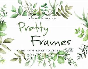 Watercolor Greenery Clipart Frame Leaf Leaves Clipart ...