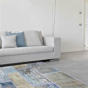 tapis de salon kilim patchwork gris bleu en laine et coton With tapis kilim avec canapé fabrication belge