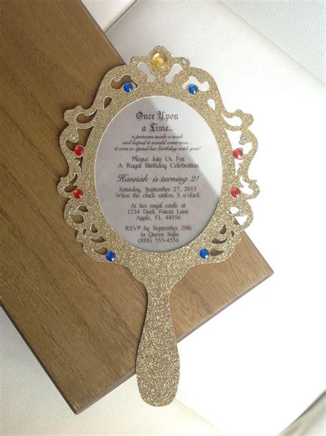 princess hand mirror invitation set