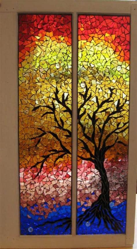 Herbst Baum Fenster by Herbstbaum Mosaik Als Fensterdekoration Bunte