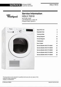 Whirlpool Hdlx 70510 Dryer Service Manual And Technicians