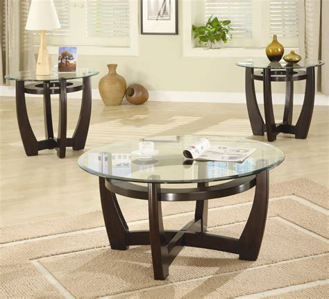 Brown Glass Coffee Table Set  Stealasofa Furniture