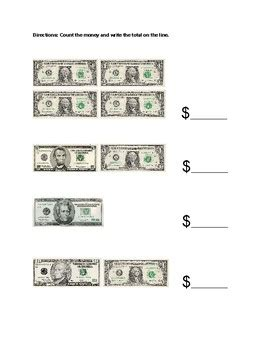 counting bills money worksheet by adaptedalways tpt